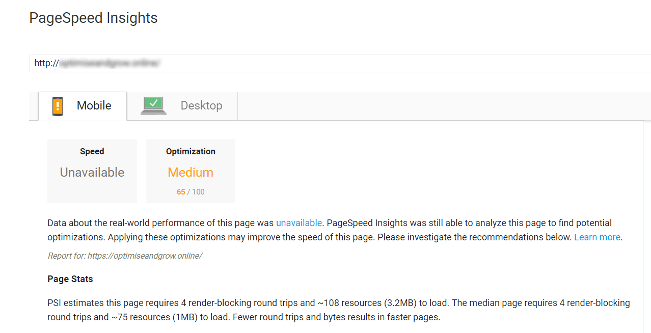 Wordpress SEO Page Speed Insights